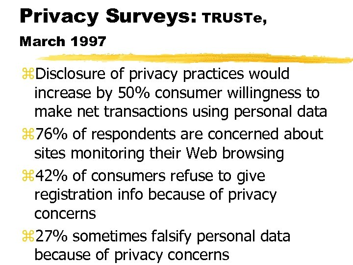Privacy Surveys: TRUSTe, March 1997 z. Disclosure of privacy practices would increase by 50%
