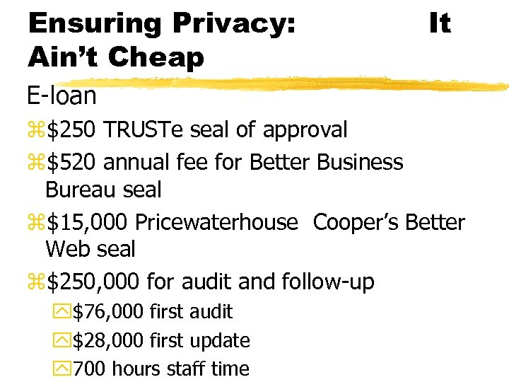 Ensuring Privacy: Ain't Cheap It E-loan z$250 TRUSTe seal of approval z$520 annual fee