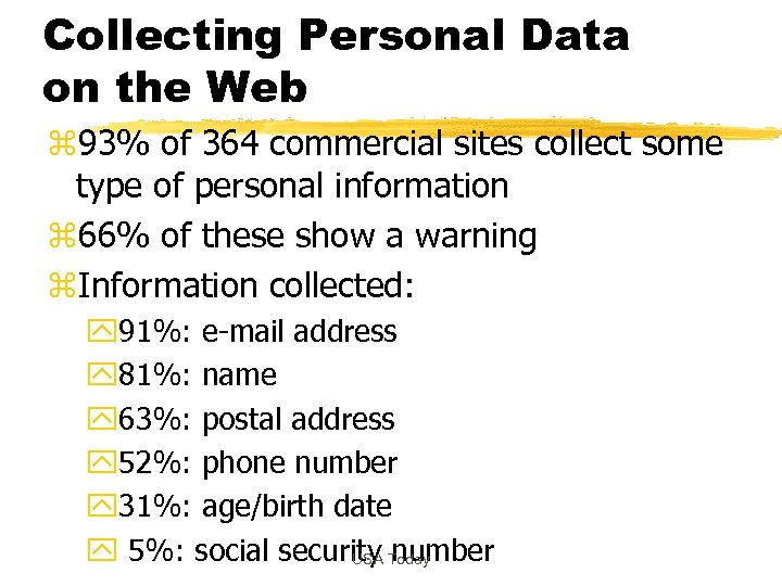 Collecting Personal Data on the Web z 93% of 364 commercial sites collect some