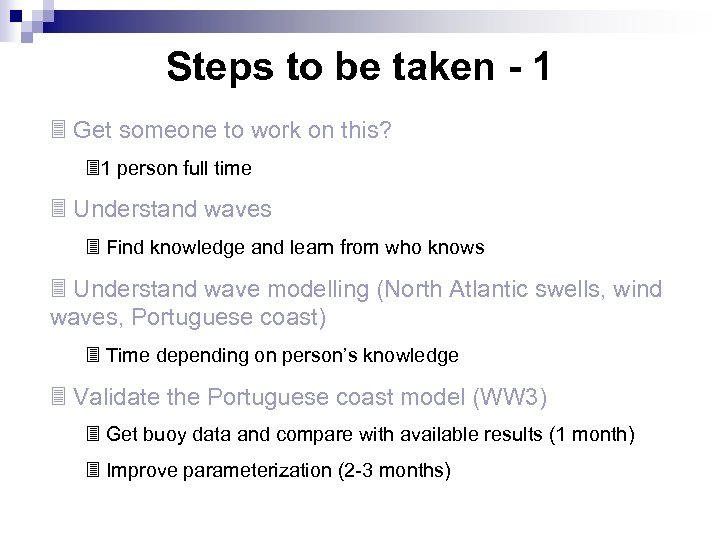 Steps to be taken - 1 3 Get someone to work on this? 31