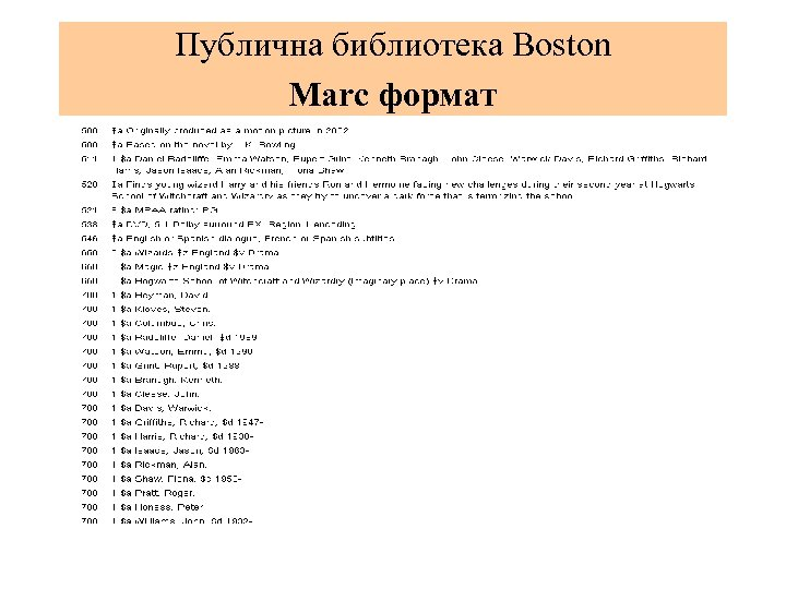 Публична библиотека Boston Мarc формат