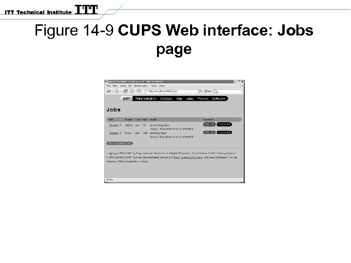Figure 14 -9 CUPS Web interface: Jobs page