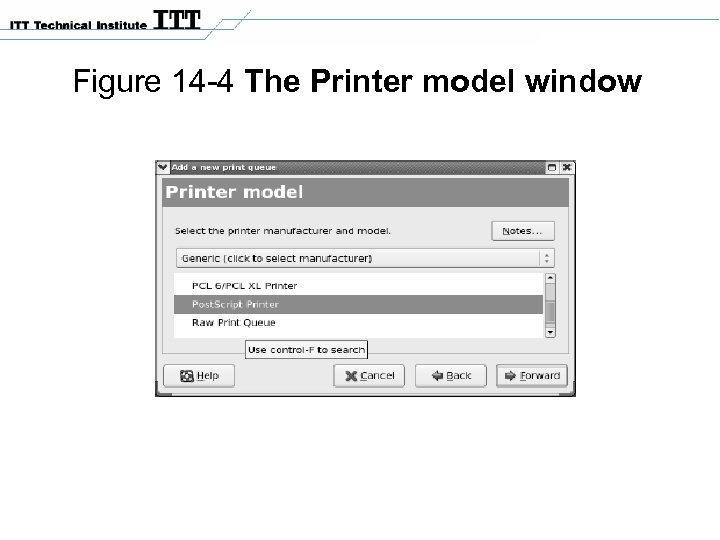 Figure 14 -4 The Printer model window