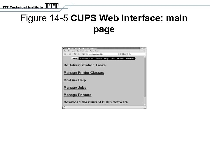 Figure 14 -5 CUPS Web interface: main page