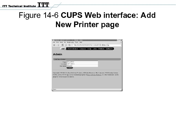 Figure 14 -6 CUPS Web interface: Add New Printer page