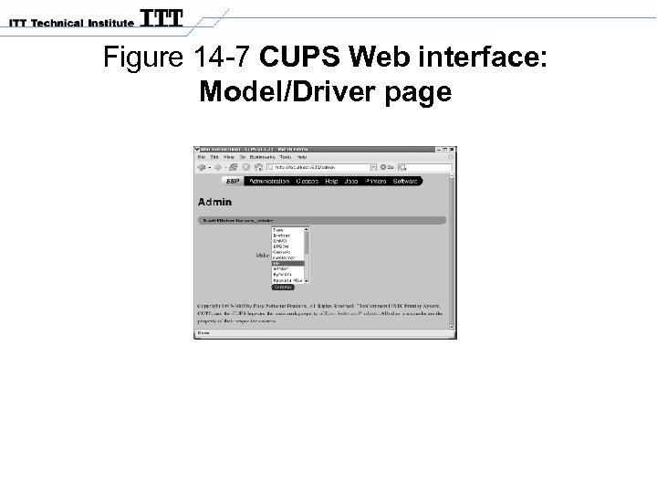 Figure 14 -7 CUPS Web interface: Model/Driver page