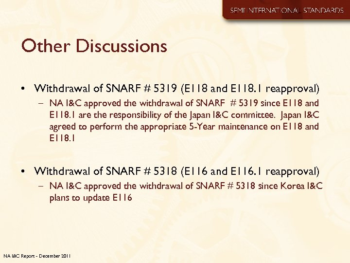 Other Discussions • Withdrawal of SNARF # 5319 (E 118 and E 118. 1
