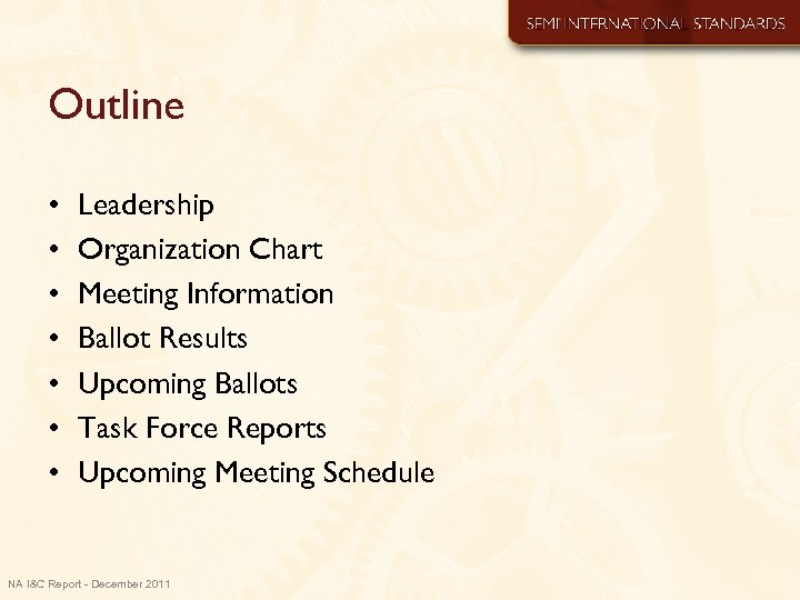 Outline • • Leadership Organization Chart Meeting Information Ballot Results Upcoming Ballots Task Force