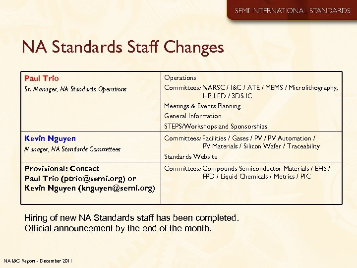 NA Standards Staff Changes Paul Trio Sr. Manager, NA Standards Operations Kevin Nguyen Manager,