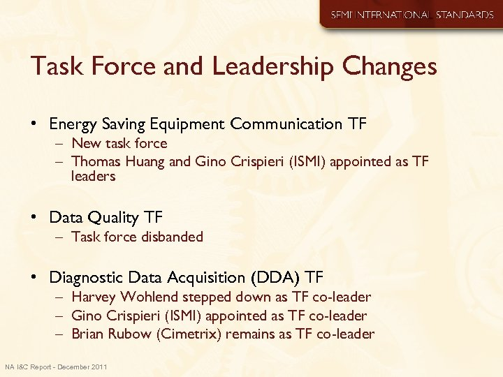 Task Force and Leadership Changes • Energy Saving Equipment Communication TF – New task