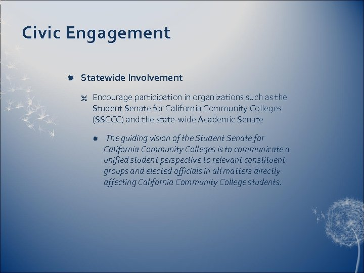 Civic Engagement Statewide Involvement Ë Encourage participation in organizations such as the Student Senate