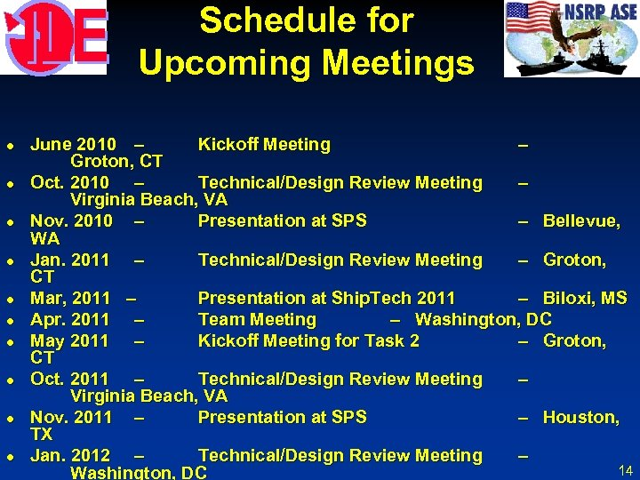 Schedule for Upcoming Meetings l l l l l June 2010 – Kickoff Meeting