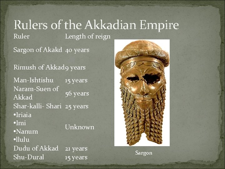 Rulers of the Akkadian Empire Ruler Length of reign Sargon of Akakd 40 years