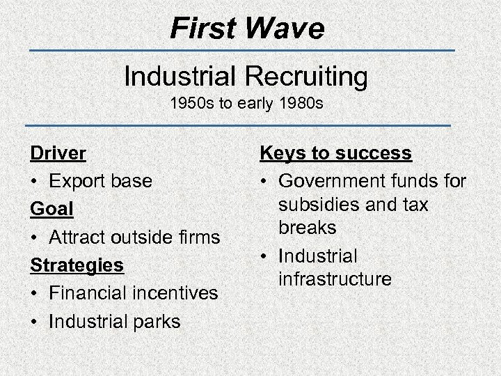 First Wave Industrial Recruiting 1950 s to early 1980 s Driver • Export base