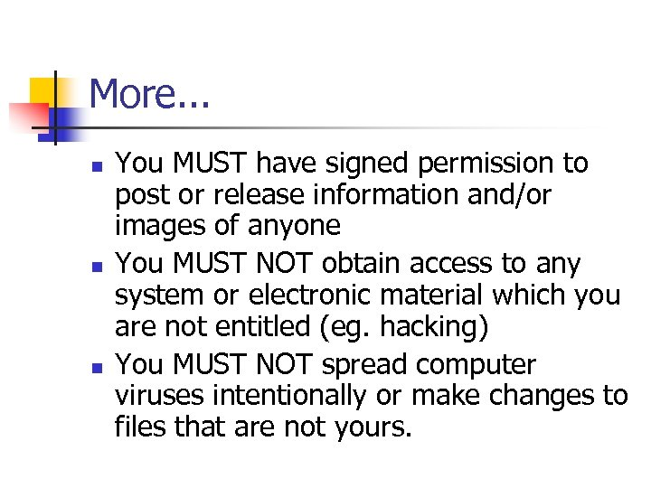 More. . . n n n You MUST have signed permission to post or