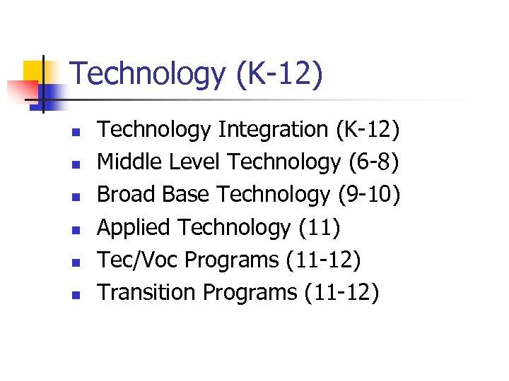Technology (K-12) n n n Technology Integration (K-12) Middle Level Technology (6 -8) Broad
