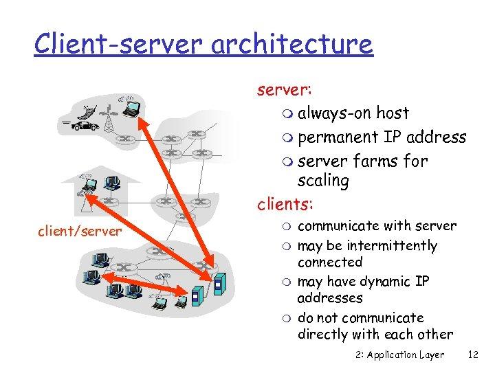 Client-server architecture server: m always-on host m permanent IP address m server farms for