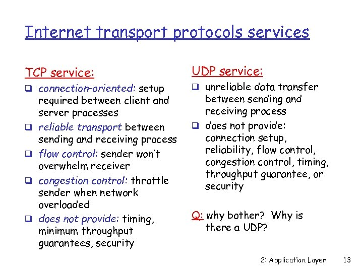 Internet transport protocols services TCP service: q connection-oriented: setup q q required between client