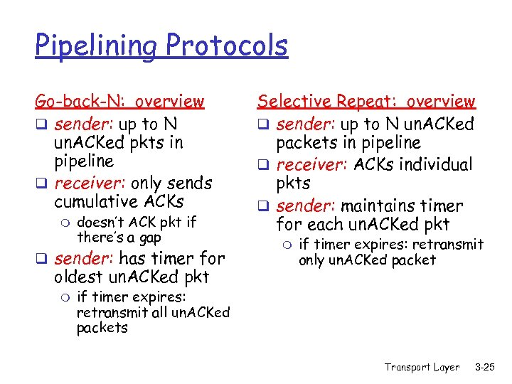 Pipelining Protocols Go-back-N: overview q sender: up to N un. ACKed pkts in pipeline
