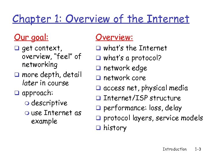 1 DT 052 Computer Networks I Summary Introduction