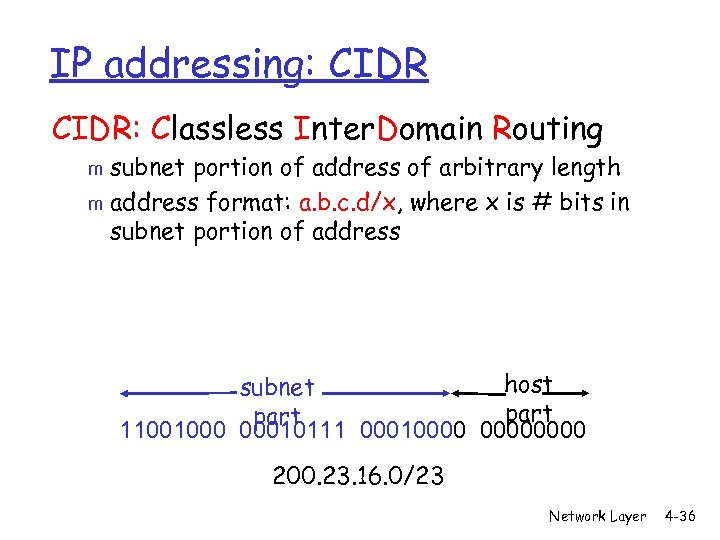 IP addressing: CIDR: Classless Inter. Domain Routing subnet portion of address of arbitrary length