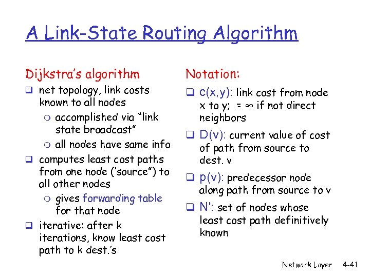A Link-State Routing Algorithm Dijkstra's algorithm q net topology, link costs known to all