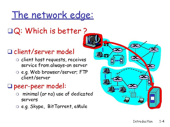 The network edge: q Q: Which is better ? q client/server model m m