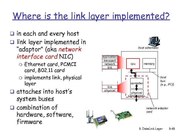 Where is the link layer implemented? q in each and every host q link