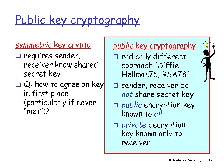 Public key cryptography symmetric key crypto q requires sender, receiver know shared secret key