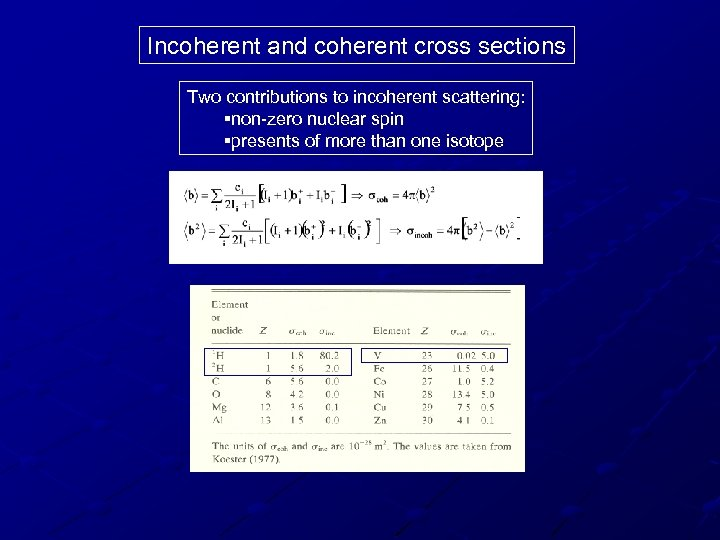 Incoherent and coherent cross sections Two contributions to incoherent scattering: §non-zero nuclear spin §presents