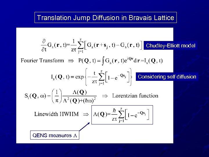 Translation Jump Diffusion in Bravais Lattice Chudley-Elliott model Considering self diffusion QENS measures L