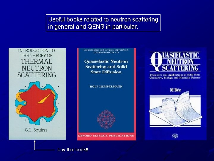 Useful books related to neutron scattering in general and QENS in particular: buy this