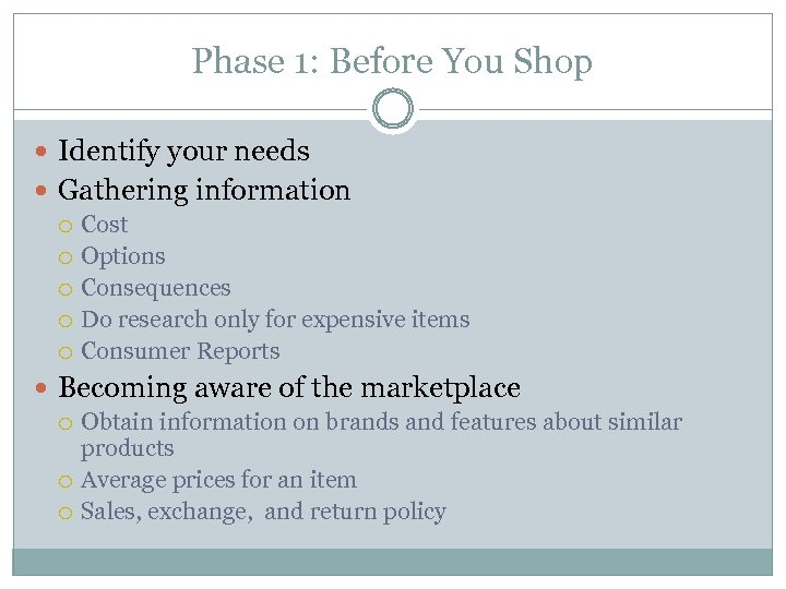 Phase 1: Before You Shop Identify your needs Gathering information Cost Options Consequences Do