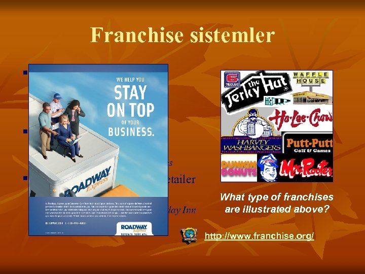 Franchise sistemler § Manufacturer-Sponsored Retailer Franchise n Ford and its independent franchised dealers §
