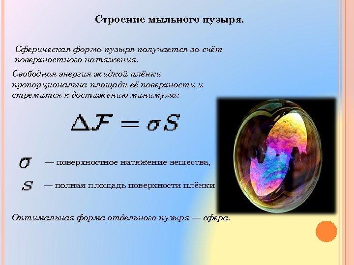 Строение мыльного пузыря. Сферическая форма пузыря получается за счёт поверхностного натяжения. Свободная энергия