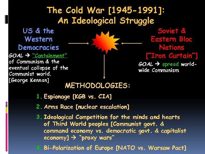 The Cold War [1945 -1991]: An Ideological Struggle US & the Western Democracies GOAL