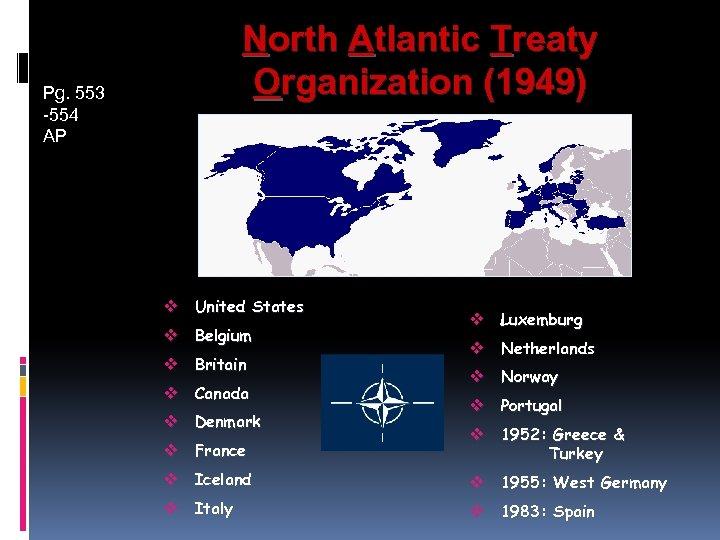 North Atlantic Treaty Organization (1949) Pg. 553 -554 AP v United States v Belgium