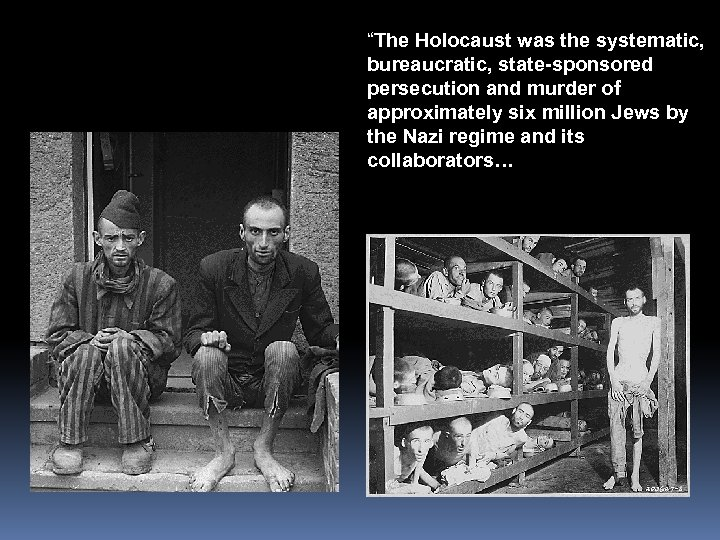 """""""The Holocaust was the systematic, bureaucratic, state-sponsored persecution and murder of approximately six million"""