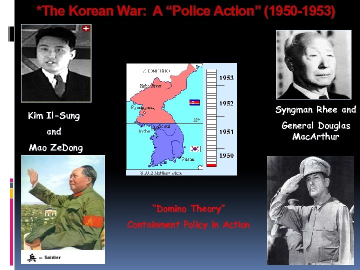 """*The Korean War: A """"Police Action"""" (1950 -1953) Syngman Rhee and Kim Il-Sung General"""
