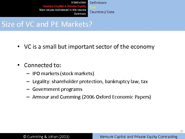 Introduction Venture Capital & Private Equity Main Issues Addressed in this course Summary Definitions