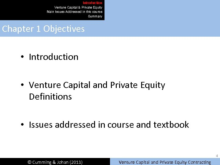 Introduction Venture Capital & Private Equity Main Issues Addressed in this course Summary Chapter