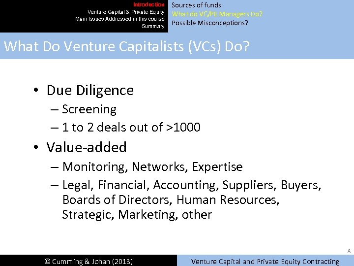 Introduction Venture Capital & Private Equity Main Issues Addressed in this course Summary Sources