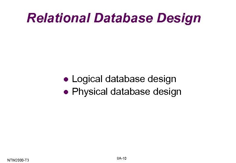 Relational Database Design l l NTW 2000 -T 3 Logical database design Physical database