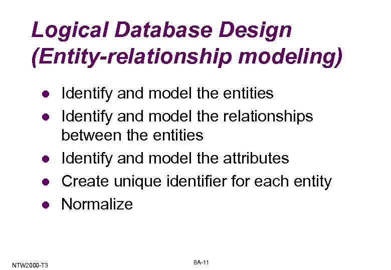 Logical Database Design (Entity-relationship modeling) l l l NTW 2000 -T 3 Identify and