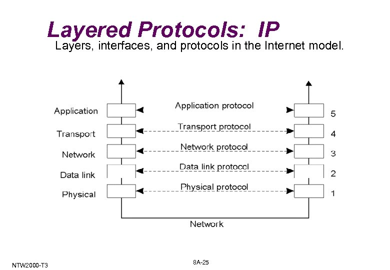 Layered Protocols: IP Layers, interfaces, and protocols in the Internet model. NTW 2000 -T