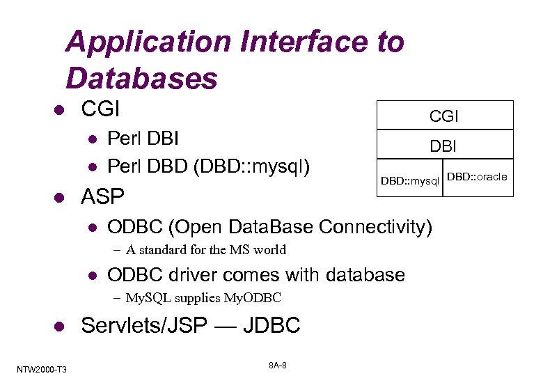 Application Interface to Databases l CGI l l l CGI Perl DBD (DBD: :
