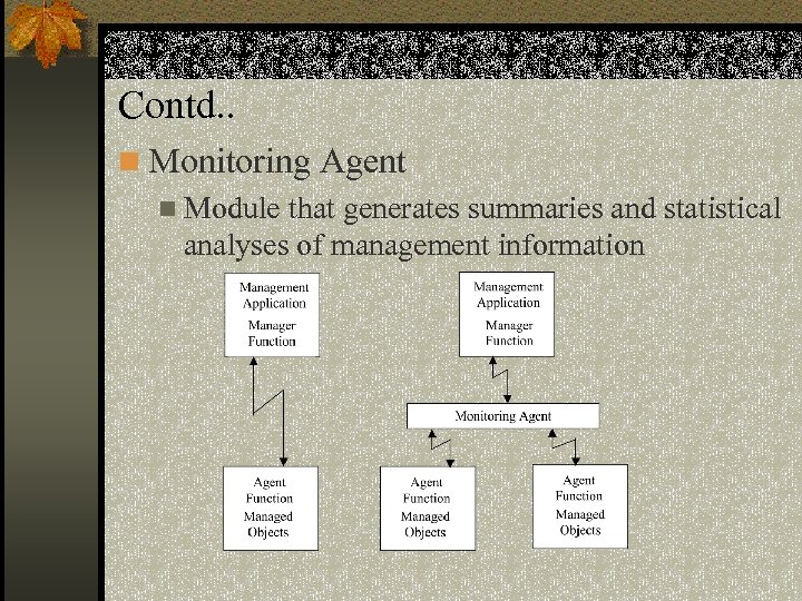 Contd. . n Monitoring Agent n Module that generates summaries and statistical analyses of