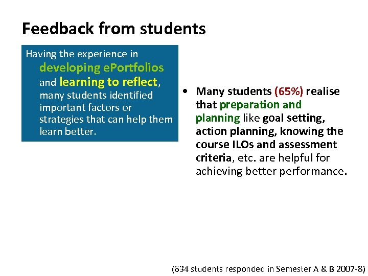 Feedback from students Having the experience in developing e. Portfolios and learning to reflect,