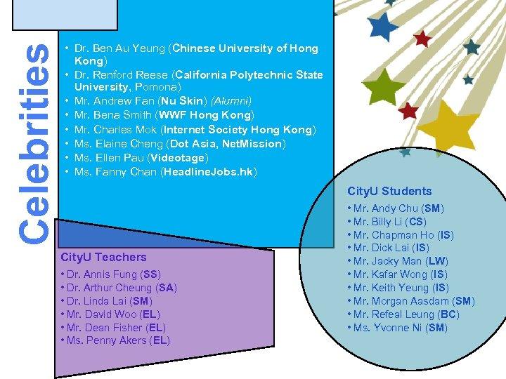 Celebrities • Dr. Ben Au Yeung (Chinese University of Hong Kong) • Dr. Renford