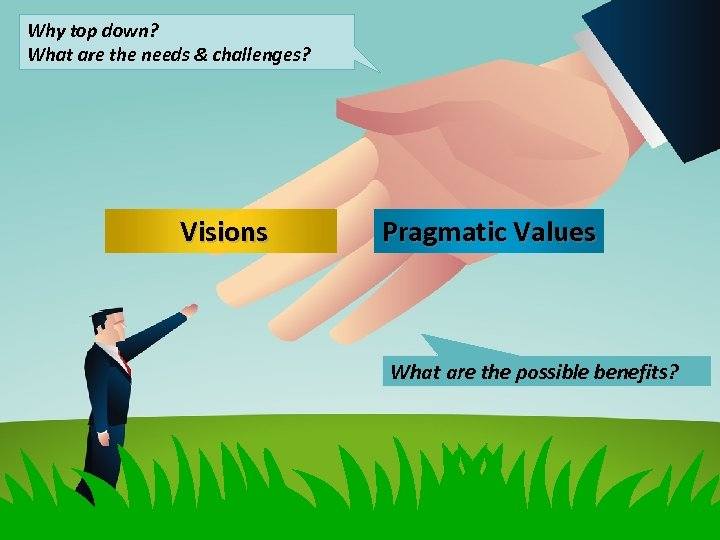 Why top down? What are the needs & challenges? Visions Pragmatic Values What are